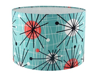 Retro mid century modern fabric handmade lampshade UK/EU/US pendant (ceiling) or table lamp fitting