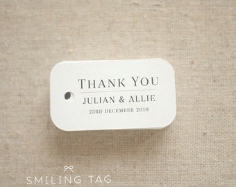 Thank You Wedding Favor Tags - Personalized Gift Tags - Custom Wedding Favor Tags - Bridal Shower Tags - Set of 40 (Item code: J593)