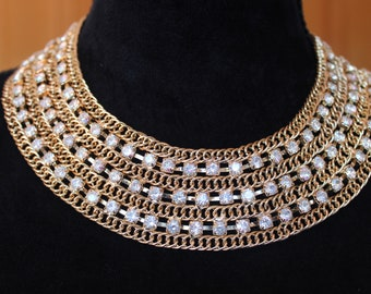 Egyptian Necklace / Necklace/  Rhinestone Necklace / Bib Necklace