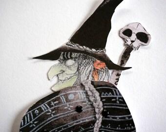 Witch Paperdoll Puppet Doll Halloween Ornement - Orange, Black, Green