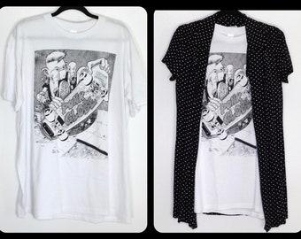 "On Sale~Very Very Rare ""Punk Globe"" 1987 T~Shirt~Punk Globe~ Super Thin Cotton-Mens US XLarge, US Women's XXL"