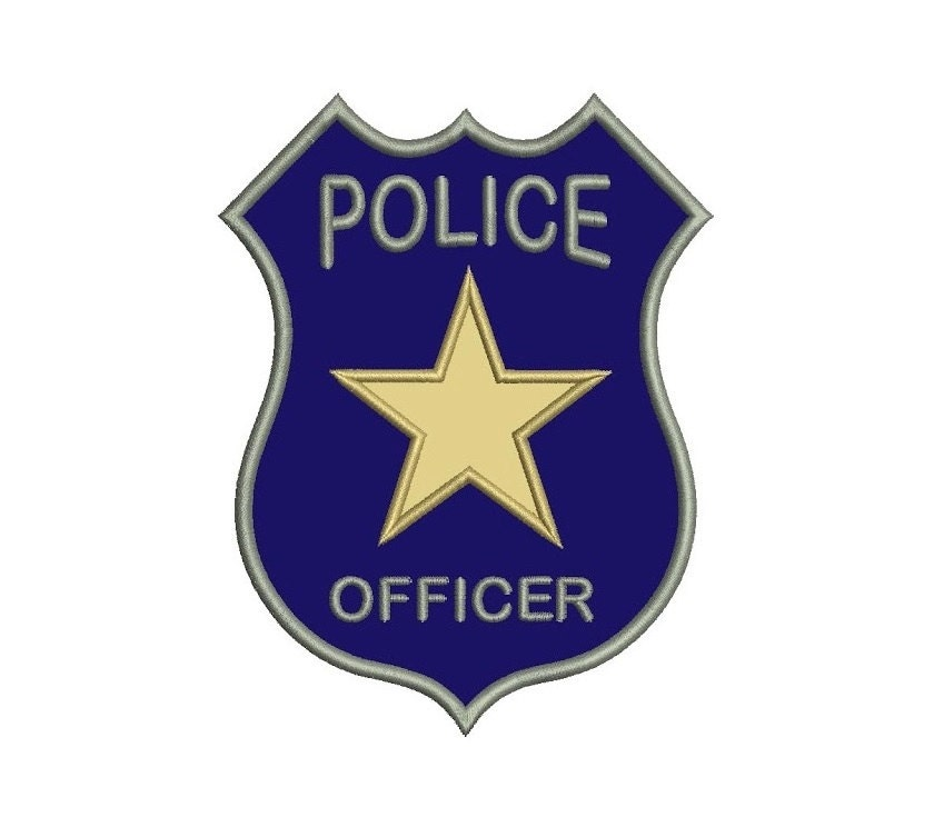 Police Badge Applique Machine Embroidery Digitized Design