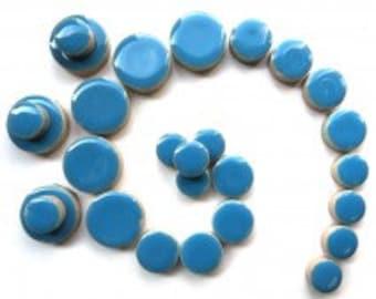 Ceramic Discs Mosaic Tiles - Thalo Blue - 50g