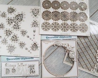 Set of 5 random chipboards for mixed media and cardmaking