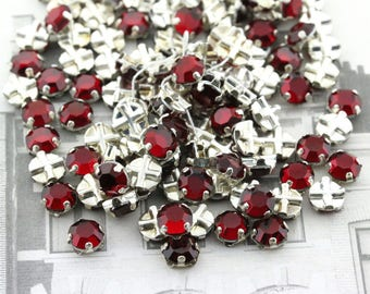 Austrian - VINTAGE 6mm Crystal Rose MONTEES - 2-hole Crystal sew-on beads - Siam / Silver Plated - 8pcs
