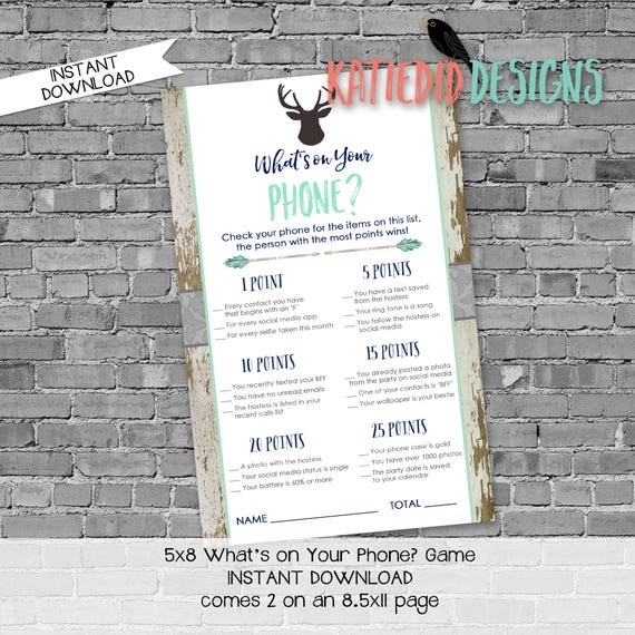 what's on your phone shower game   gender reveal party game   deer baby shower invitation   rustic baby boy shower   1238b Katiedid Designs