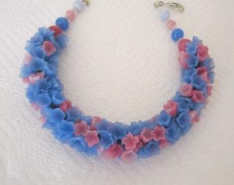 Vintage glass flower floral garland necklace pink and blue. flower garland necklace; floral jewelry.