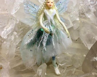 "Fae Folk® Fairies - FROSTI - Forest Fairy. Bendable, posable 5"" soft doll can sit, stand, or hang."