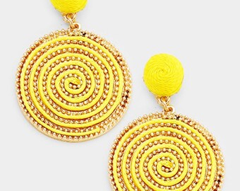 Swirl Thread Wrapped Disc Dangle Earrings - Gold/Yellow