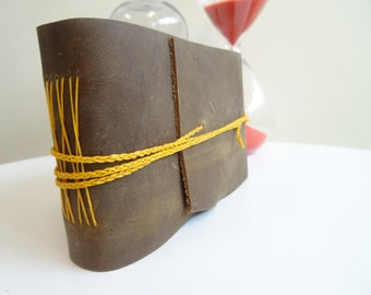 Small Leather Journal/Sketch Book, handmade, leather, wrapped