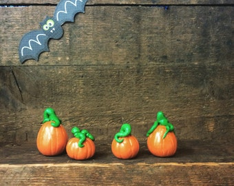 Miniature pumpkins or jack-o'-lanterns dollhouse or fairy garden accessory set of FOUR