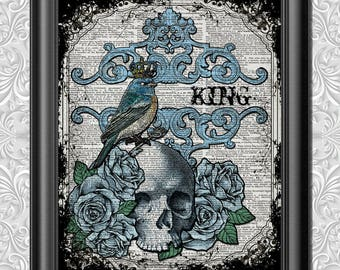 Dictionary art King Bird, Skull and roses poster Wall decor, Tattoo Style Love Print