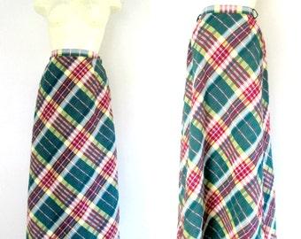 1970s Preppy Maxi Skirt // Green Plaid Cotton Seersucker 26 Inch Waist A-Line