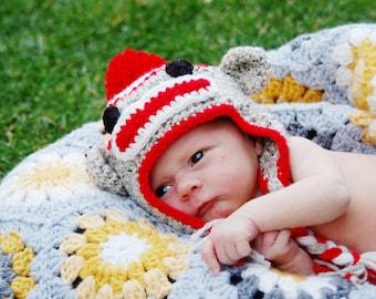 Crochet Sock Monkey Hat, Baby Monkey Hat, Newborn Monkey Hat, Baby Shower Gift or Photography Photo Prop