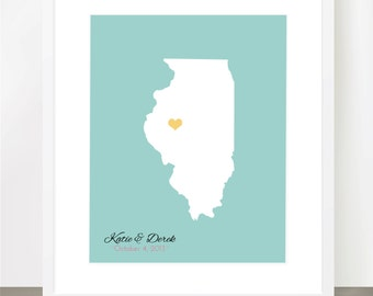 Wedding, Engagement, Love Story Map of US States, and Most Countries, Incl. World Map, Pin your Love with a Heart- 8x10 Print
