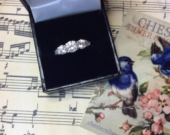 Stunning Simulated Diamond Trilogy Ring with Accents in Sterling Silver UK Size O USA 7 1/4 Comes with a FREE Gift of Handmade Jewellery