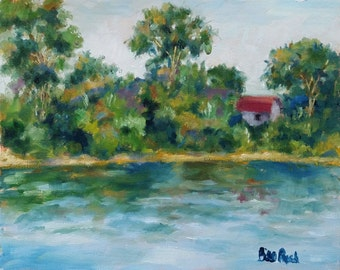 "House Along The River - 8"" x 10"" original oil painting"