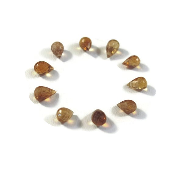 Tiny Golden Tourmaline Teardrops, Ten Natural Yellow Brown Gemstone Briolettes, 5x3mm - 6x3mm, 10 Stones for Jewelry Making (Luxe-Tou3b)
