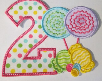 Candy Land Birthday - Iron On or Sew On Embroidered Custom Made Applique
