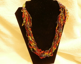 Hand Crocheted Trellis Necklace #24