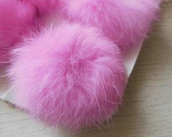 3pcs 6cm Pink Real Rabbit Fur Ball Rabbit Fur Pom Poms