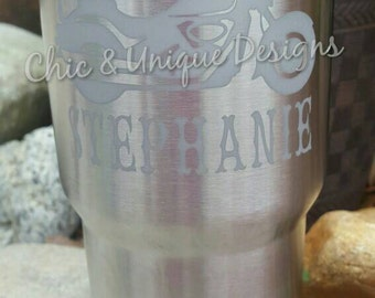 Yeti Rambler 30 oz, etched with Harley Motorcycle and name. Can be etched on 20 oz also, see description for details.