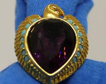 Elizabeth Taylor Avon Egyptian Falcon Purple Rhinestone Ring Vintage 1993 Elizabeth Taylor Avon Jewelry Cleopatra