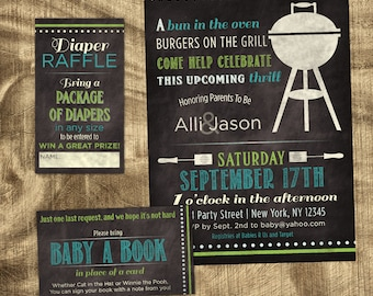 Baby Boy Shower Invitation Kit, Chalkboard Invitation, Co-ed Baby Shower, Custom, Coed Shower Invite, Modern, BBQ, Casual, Baby-Q Invite