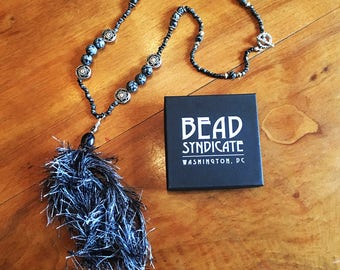 Snowflake Obsidian and Tibetan Silver Beaded Necklace with Handmade Tassel