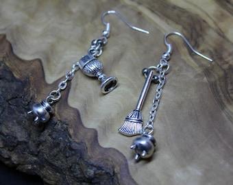 BESSOM (Broom), CHALICE drop dangle earrings, Pagan, Wicca, Spiritual, Tibetan silver, charm, Samhain, Halloween.