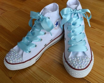 Custom Converse shoes with white Pearls and blue satin ribbon shoelaces.