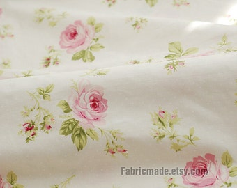 Large Rose Cotton Fabric Pink Rose Dots on Off White Background Shabby Chic Fabric Large Flower Cotton- 1/2 yard