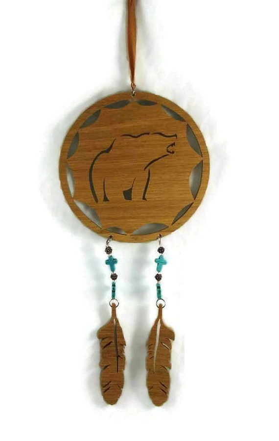 Bear Dreamcatcher Handmade From Oak Wood With Cross's And Beads