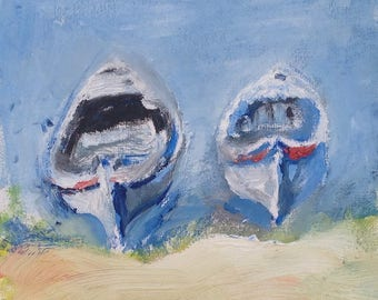 Oil Painting of Two Fishing Boats