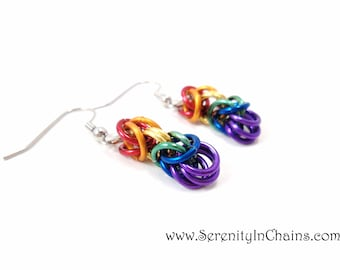 Rainbow Earrings Chainmail Jewelry Gay Pride