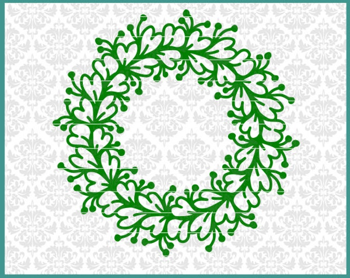 CLN0540 Leafy Clover Monogram Circle Mandala Hearts Flowers SVG DXF Ai Eps PNG Vector Instant Download COmmercial Cut FIle Cricut SIlhouette