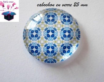 1 cabochon clear 25 mm round mosaic theme Tunisian