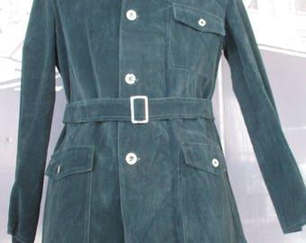 Sahariana anni 60.Alcantara verde.Tg L/Amazing deadstock 60s deep green sahariana/Alcantara/Belt/Three front pockets/ Original labels/Size L