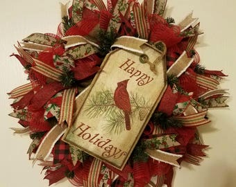 Cardinal Wreath, Rustic Christmas Door Wreath, Winter Door Wreath, Christmas Holiday Decor, Winter Wreath
