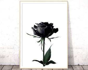 Black Flower Wall Art, Halloween Print, Floral Poster, Rose Print, Botanical Printables, Flower Poster, Black And White, Digital Print