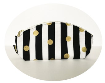 Large Cosmetic Pouch. Makeup Pouch. Cute Black and Gold Stripe Print Pouch. Zippered Pouch.