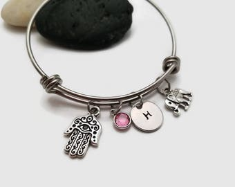 Hamsa hand bracelet, Hamsa hand bangle, Evil eye, Elephant charm, personalized bangle, lucky hand gift for her, hand of Fatima bracelet
