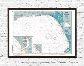 Santa Monica, Nautical Chart, Beach House Decor, Santa Monica Map, Santa Monica CA Wall Art, Santa Monica Poster,  Santa Monica CA Print