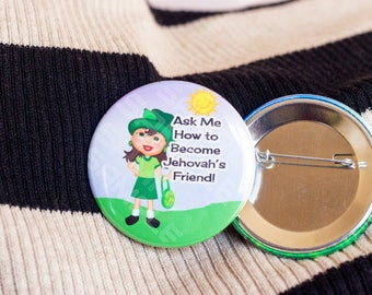 Jw pins for kids, jw kids, Jehovah's Friend, JW.org, ministry buttons, pinback button, accessories for jehovahs witnesses, childrens buttons