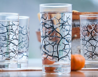Halloween Spooky Trees, Dramatic Black and White Trees with Bats - Set of 4 Everyday Drinking Glasses, Halloween Glasses