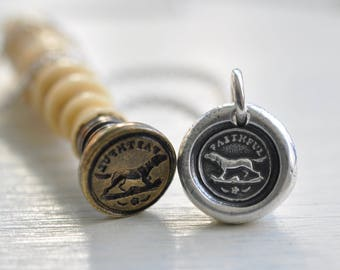 dog wax seal necklace - tiny dog necklace - faithful - silver antique wax seal jewelry - gift for the dog lover