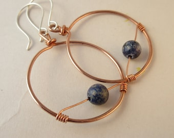 Copper Hoop Earrings - Boho Earrings - Lapis Lazuli Earrings - Blue Gemstone Earrings - Big Hoop Earrings - Bohemian Earrings - Gift for Her