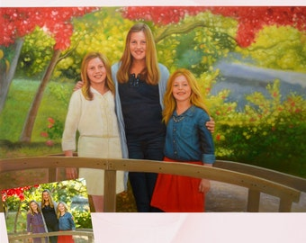 3 Persons.Custom Portrait. Picture into Painting. Canvas Painting. Turn your photos into Painting. Custom Oil Painting. Custom Portrait.Etsy