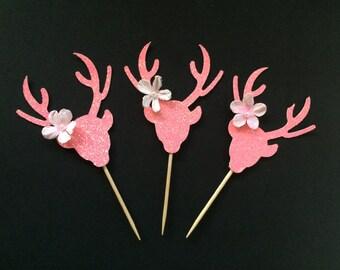 Baby Shower Girl Decorations,Deer Cupcake Toppers,Doe Cupcake Toppers, Pink Doe,Glitter Baby Shower, 12 CT.