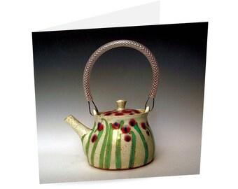 Greetings Card - Poppy Pattern Teapot